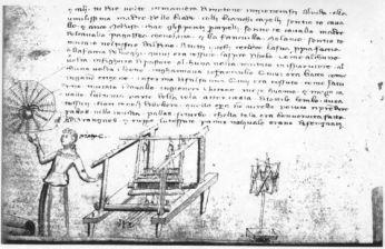 Aracne al telaio. Anonimo florentino. 1370-1380. Biblioteca nacional, Florencia. ilustración para libro metamorfosis de ovidio