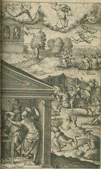 Griacomo Franco 1584. Xilografía. Aracne y Minerva. Metamorfosis