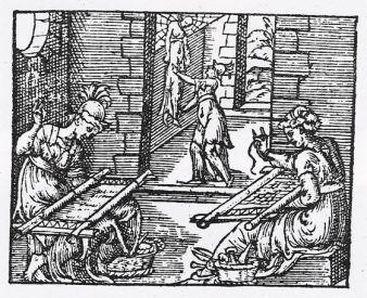 Xilografía. Aracne y Minerva. 1585, París. Metamorfosis